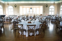 A dinner set up for a wedding in the Grand Ballroom.